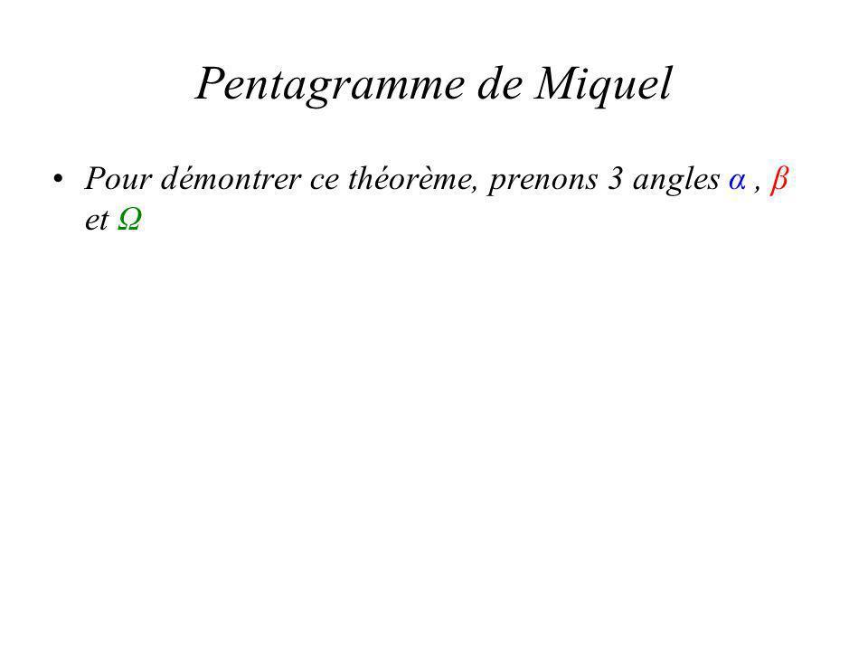 Pentagramme de Miquel Pour démontrer ce théorème, prenons 3 angles α, β et Ω