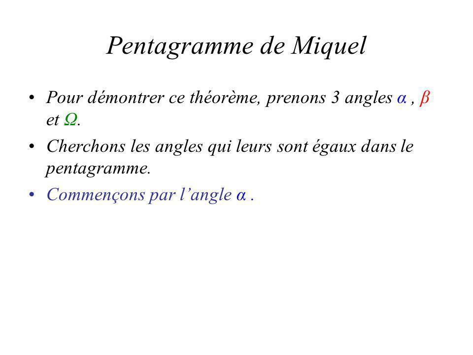 Pentagramme de Miquel Pour démontrer ce théorème, prenons 3 angles α, β et Ω.