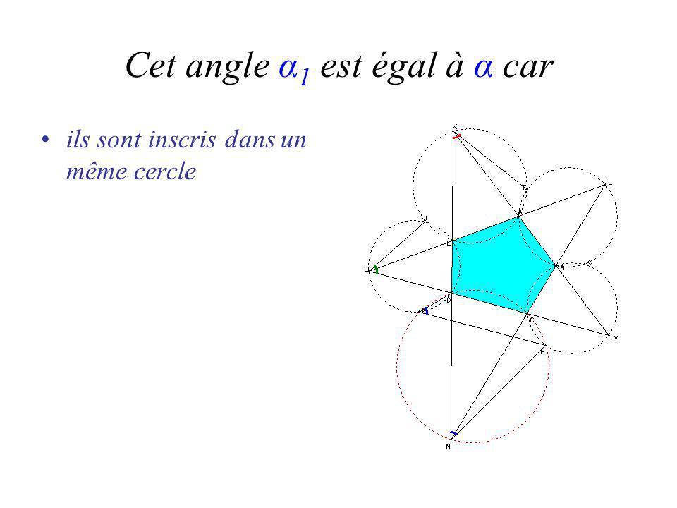 Cet angle α 1 est égal à α car ils sont inscris dans un même cercle