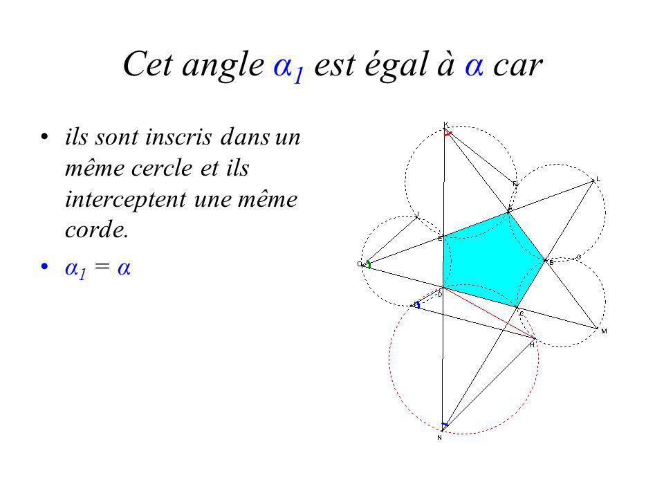 Cet angle α 1 est égal à α car ils sont inscris dans un même cercle et ils interceptent une même corde.