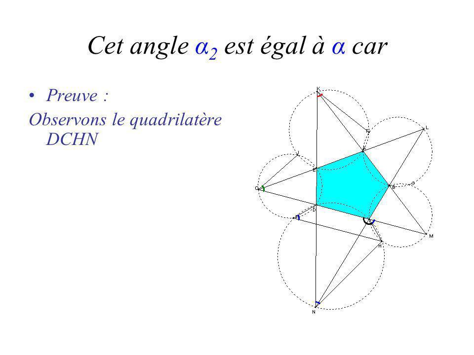 Cet angle α 2 est égal à α car Preuve : Observons le quadrilatère DCHN