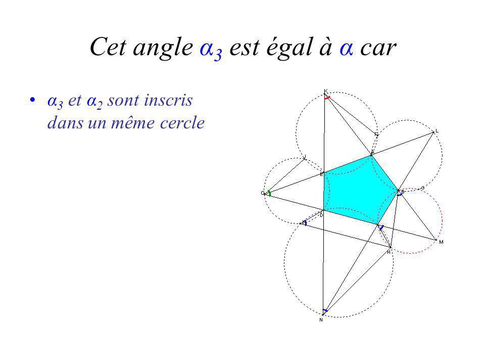 Cet angle α 3 est égal à α car α 3 et α 2 sont inscris dans un même cercle