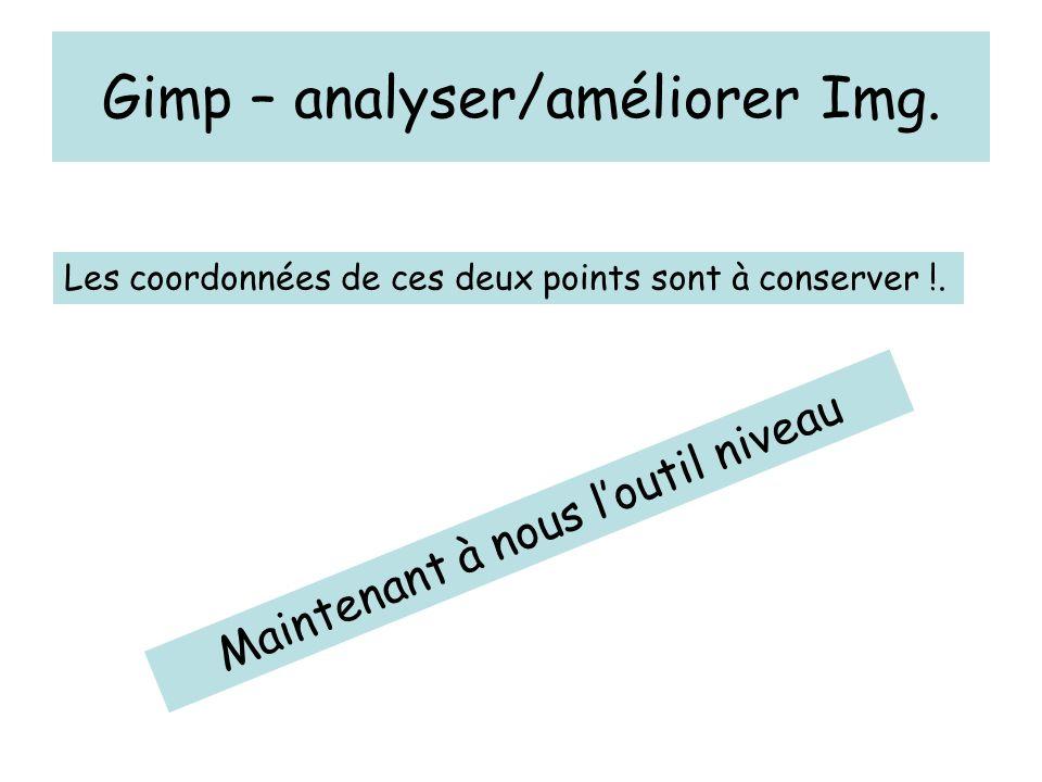 Gimp – analyser/améliorer Img. Les coordonnées de ces deux points sont à conserver !.