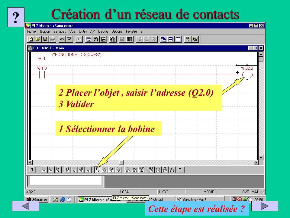 Création dun réseau de contacts 1 Sélectionner la bobine 2 Placer lobjet, saisir ladresse (Q2.0) 3 Valider ? Cette étape est réalisée ?