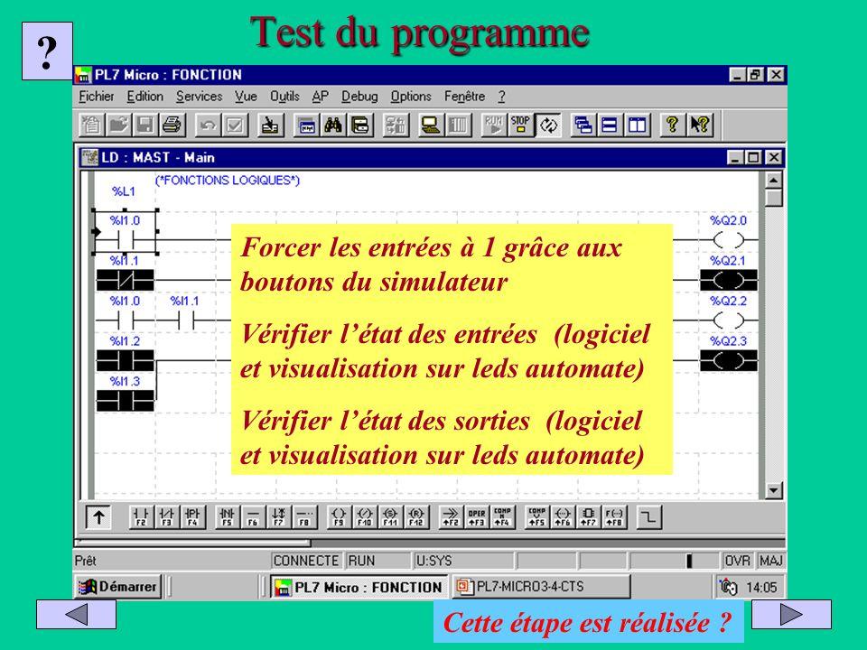 Test du programme ? Forcer les entrées à 1 grâce aux boutons du simulateur Vérifier létat des entrées (logiciel et visualisation sur leds automate) Vé