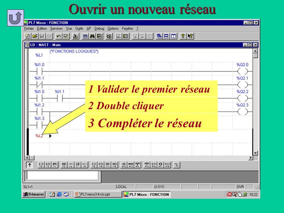 Ouvrir un nouveau réseau 1 Valider le premier réseau 2 Double cliquer 3 Compléter le réseau