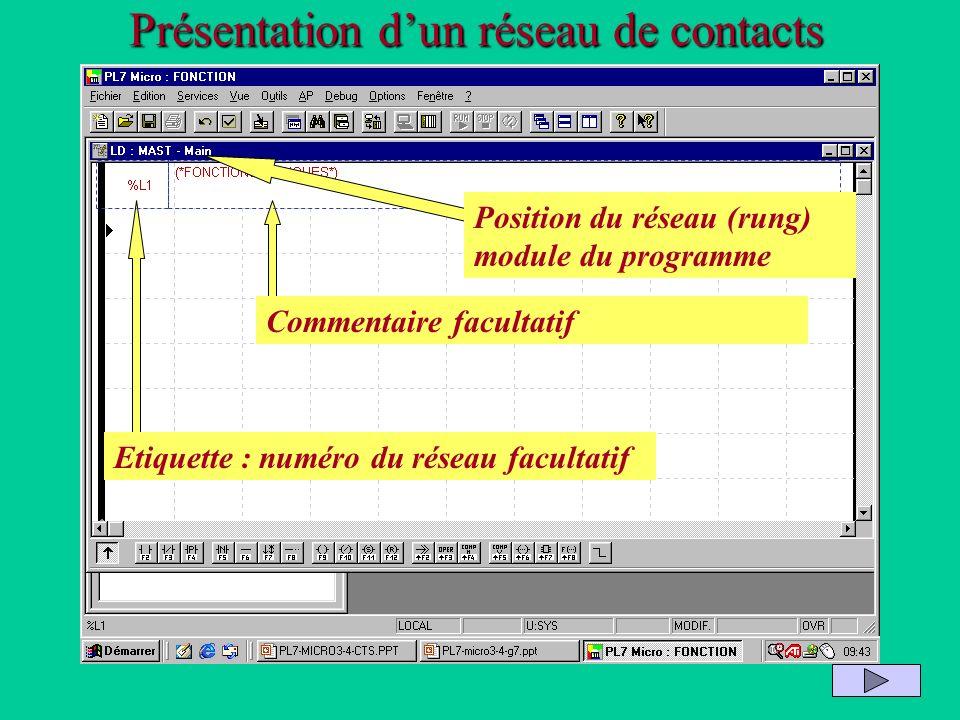 Présentation dun réseau de contacts Etiquette : numéro du réseau facultatif Commentaire facultatif Position du réseau (rung) module du programme