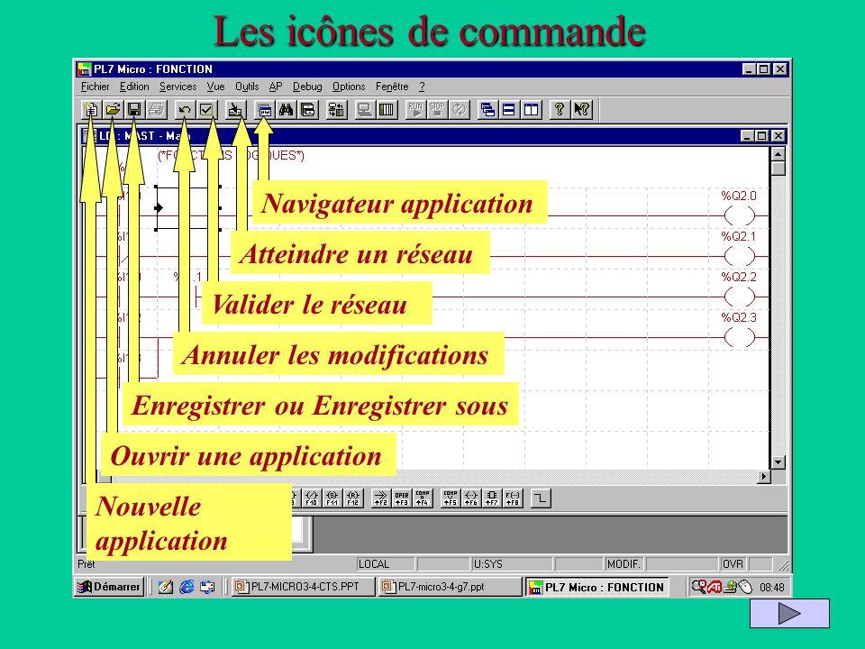 Les icônes de commande Nouvelle application Ouvrir une application Enregistrer ou Enregistrer sous Annuler les modifications Valider le réseau Atteind