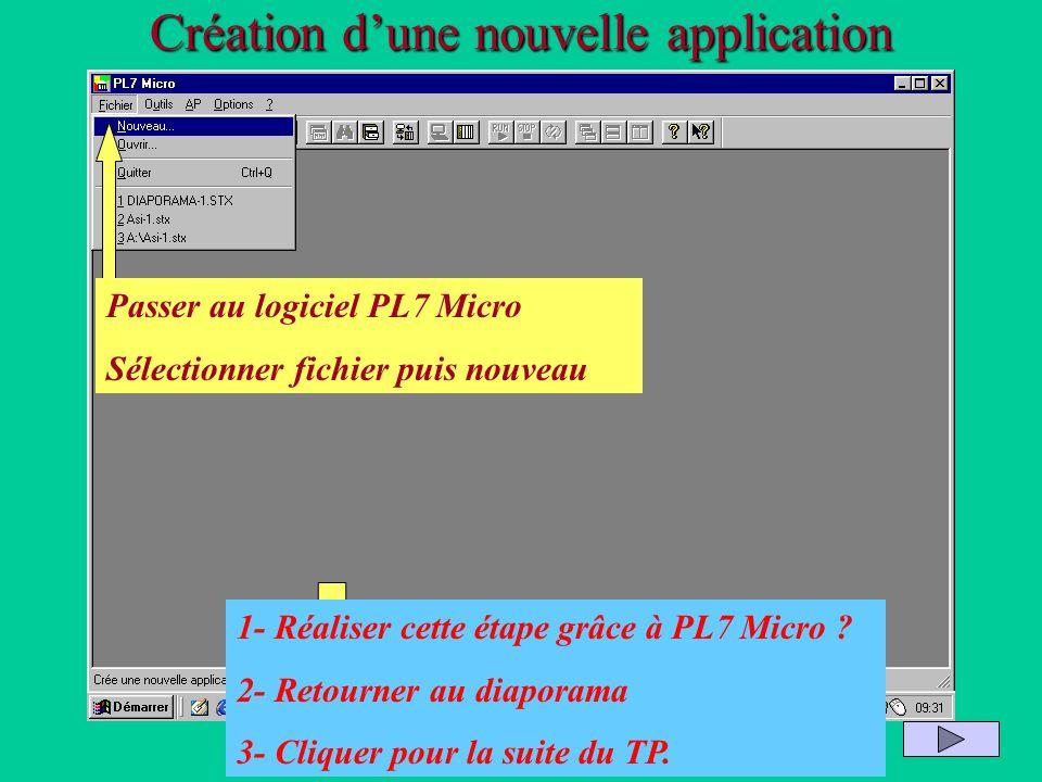 Création dune nouvelle application Passer au logiciel PL7 Micro Sélectionner fichier puis nouveau 1- Réaliser cette étape grâce à PL7 Micro ? 2- Retou