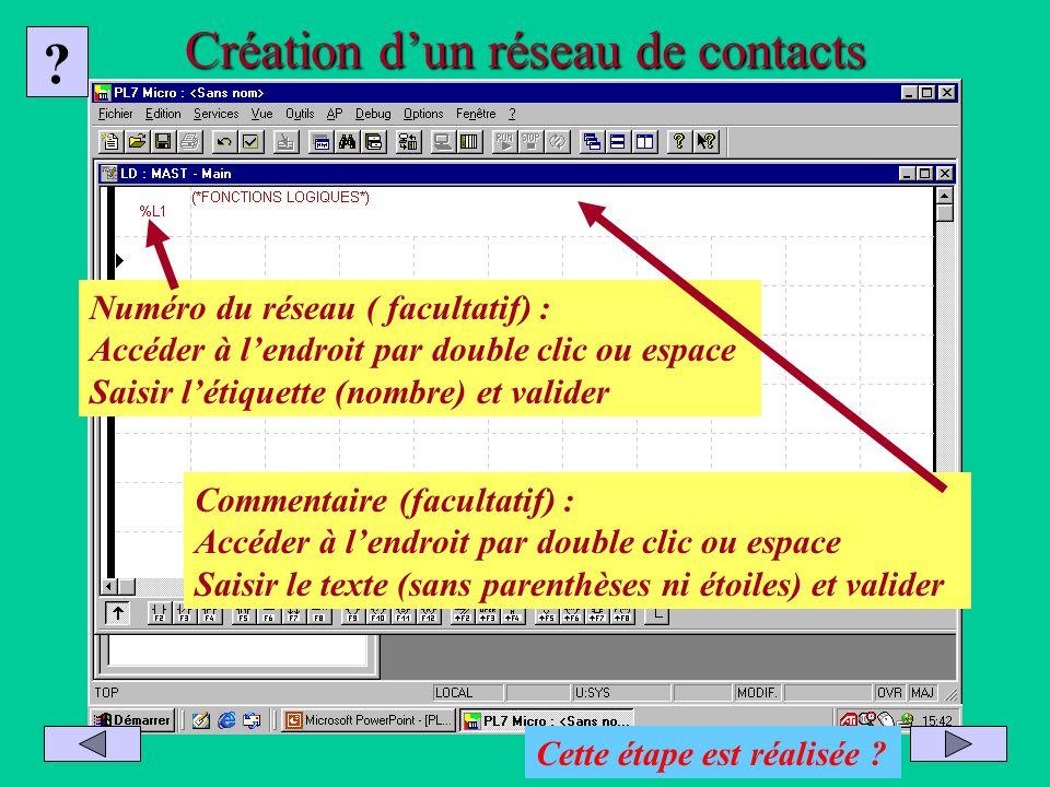 Création dun réseau de contacts Commentaire (facultatif) : Accéder à lendroit par double clic ou espace Saisir le texte (sans parenthèses ni étoiles)