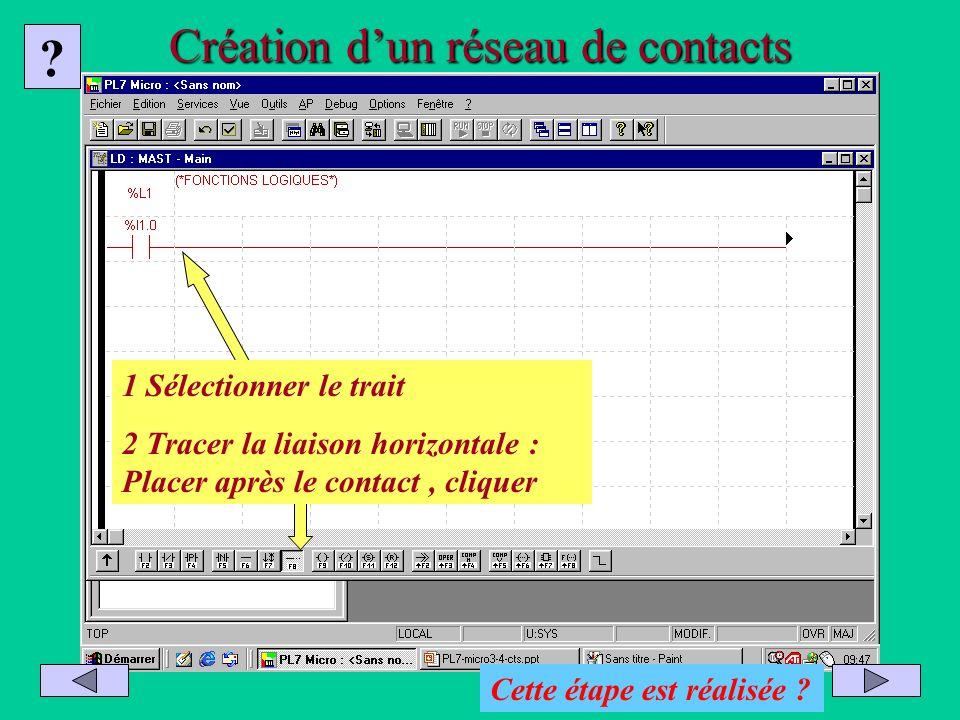 Création dun réseau de contacts 1 Sélectionner le trait 2 Tracer la liaison horizontale : Placer après le contact, cliquer ? Cette étape est réalisée