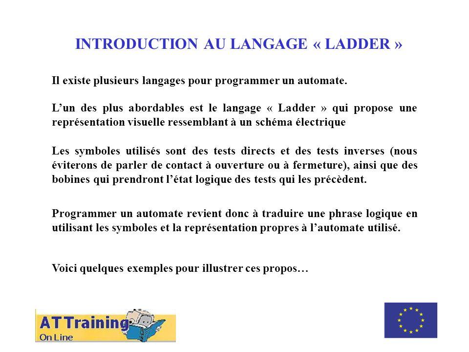 ROLE DES DIFFERENTS ELEMENTS INTRODUCTION AU LANGAGE « LADDER » Il existe plusieurs langages pour programmer un automate.