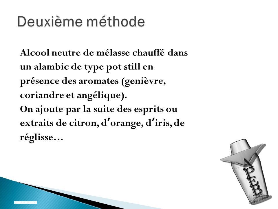 Alcool neutre de mélasse chauffé dans un alambic de type pot still en présence des aromates (genièvre, coriandre et angélique).