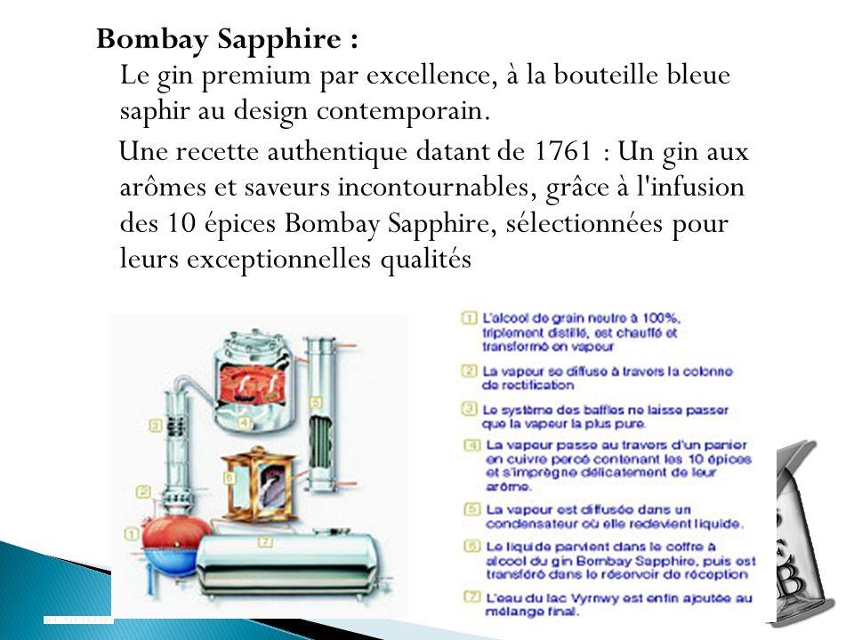 Bombay Sapphire : Le gin premium par excellence, à la bouteille bleue saphir au design contemporain.