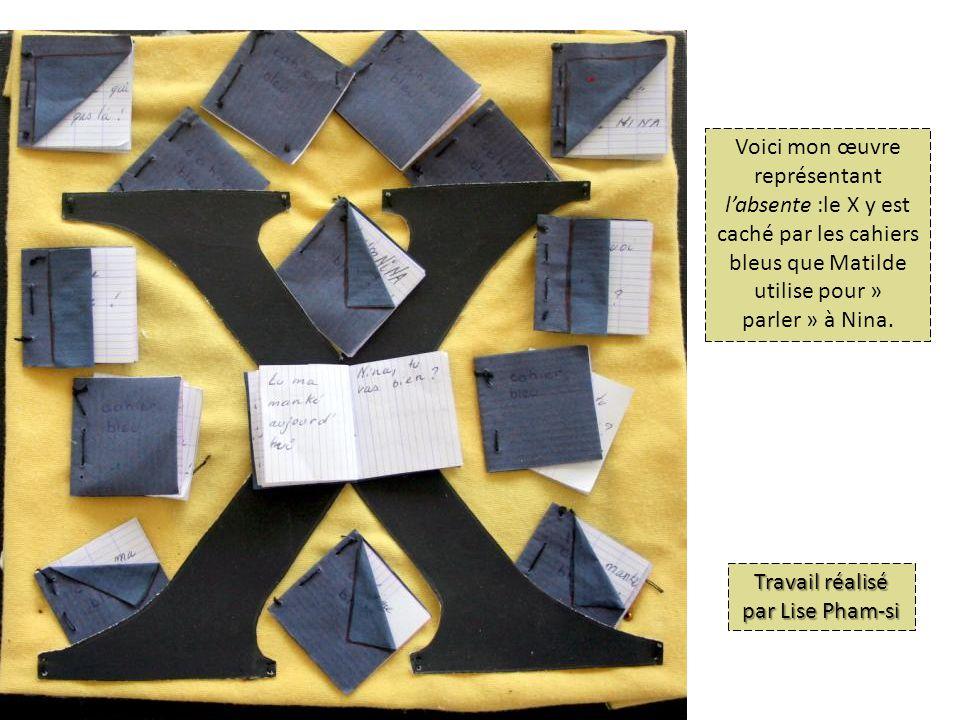 Voici mon œuvre représentant labsente :le X y est caché par les cahiers bleus que Matilde utilise pour » parler » à Nina.