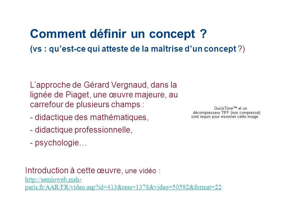 Comment définir un concept ? (vs : quest-ce qui atteste de la maîtrise dun concept ?) Lapproche de Gérard Vergnaud, dans la lignée de Piaget, une œuvr