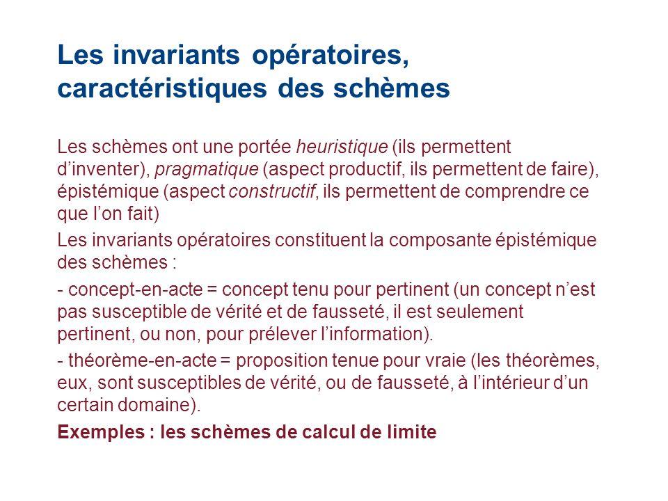 Les invariants opératoires, caractéristiques des schèmes Les schèmes ont une portée heuristique (ils permettent dinventer), pragmatique (aspect produc