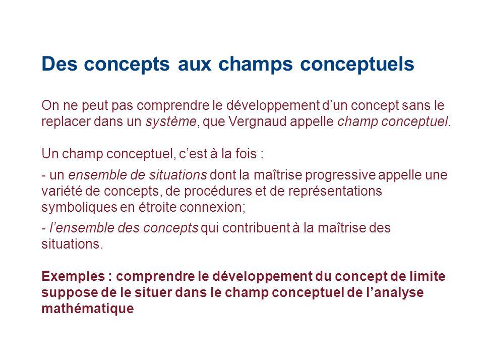 Des concepts aux champs conceptuels On ne peut pas comprendre le développement dun concept sans le replacer dans un système, que Vergnaud appelle cham