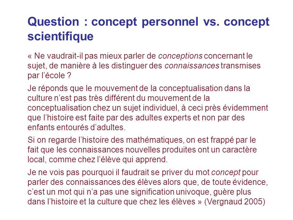 Question : concept personnel vs. concept scientifique « Ne vaudrait-il pas mieux parler de conceptions concernant le sujet, de manière à les distingue