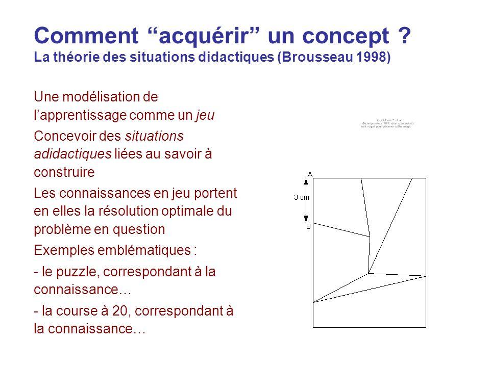 Comment acquérir un concept ? La théorie des situations didactiques (Brousseau 1998) Une modélisation de lapprentissage comme un jeu Concevoir des sit