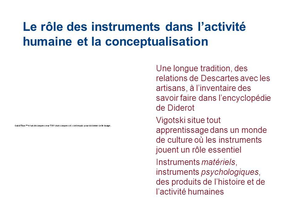 Le rôle des instruments dans lactivité humaine et la conceptualisation Une longue tradition, des relations de Descartes avec les artisans, à linventai
