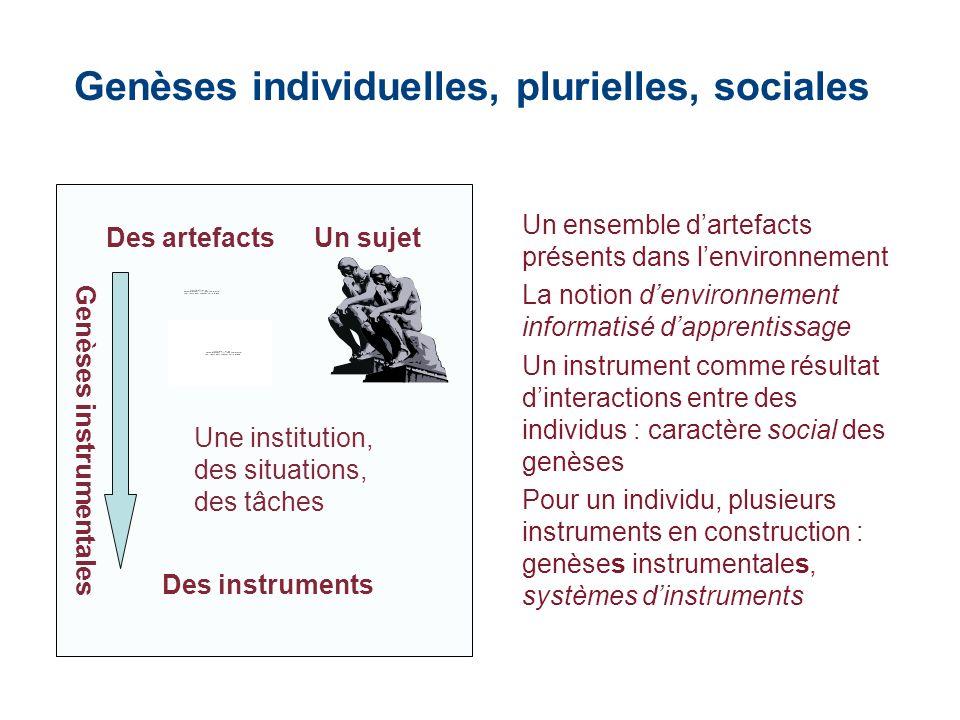 Genèses individuelles, plurielles, sociales Des artefactsUn sujet Une institution, des situations, des tâches Des instruments Genèses instrumentales U
