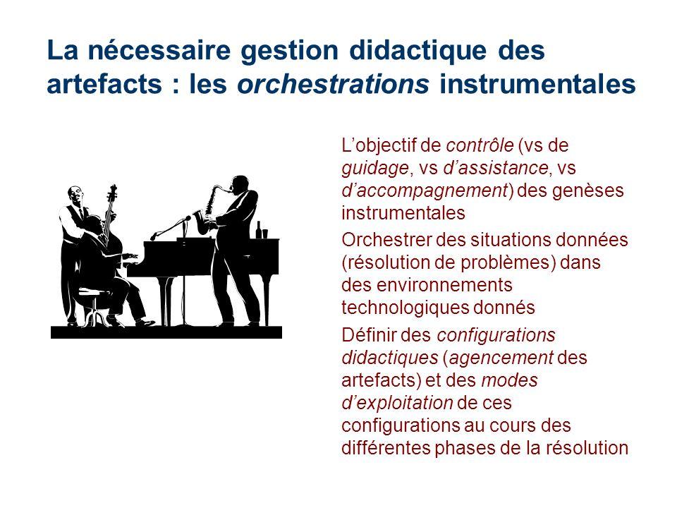 La nécessaire gestion didactique des artefacts : les orchestrations instrumentales Lobjectif de contrôle (vs de guidage, vs dassistance, vs daccompagn