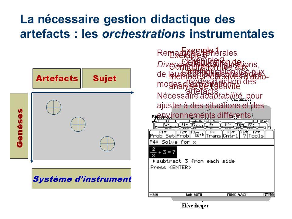 La nécessaire gestion didactique des artefacts : les orchestrations instrumentales Exemple 1 Configuration de lartefact Exemple 2 Configuration liée a