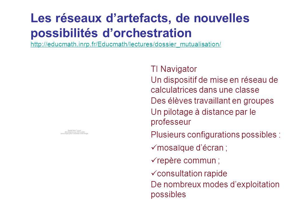 Les réseaux dartefacts, de nouvelles possibilités dorchestration http://educmath.inrp.fr/Educmath/lectures/dossier_mutualisation/ http://educmath.inrp