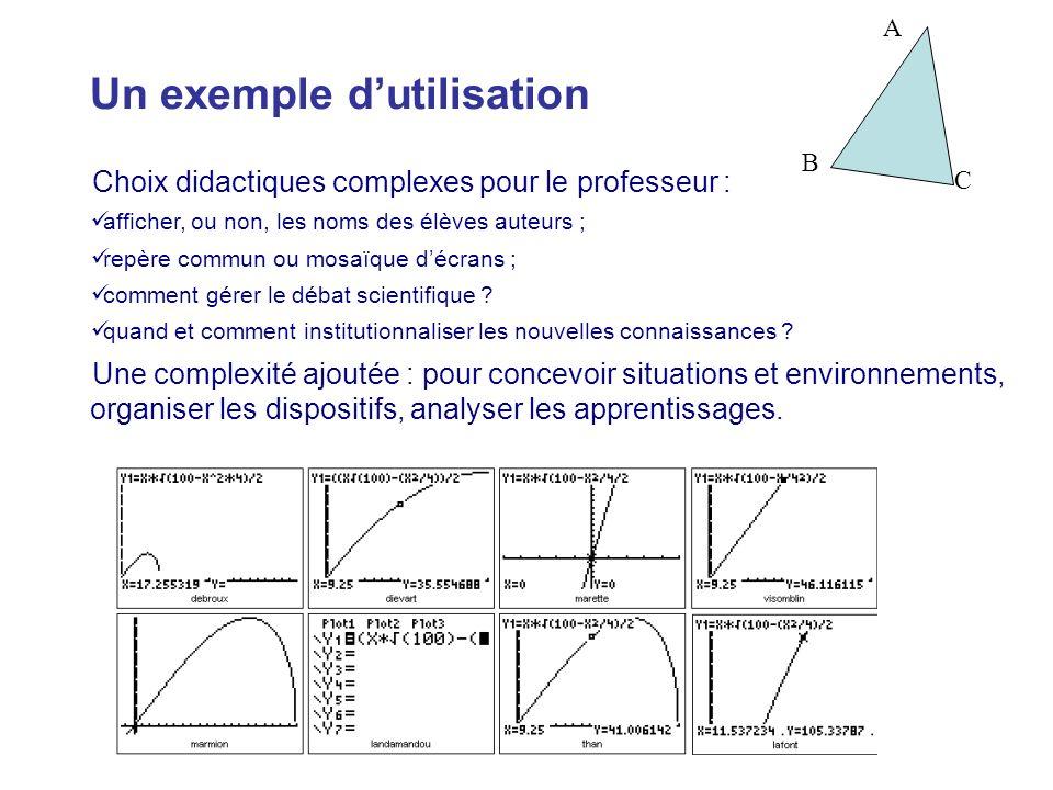 Un exemple dutilisation Choix didactiques complexes pour le professeur : afficher, ou non, les noms des élèves auteurs ; repère commun ou mosaïque déc