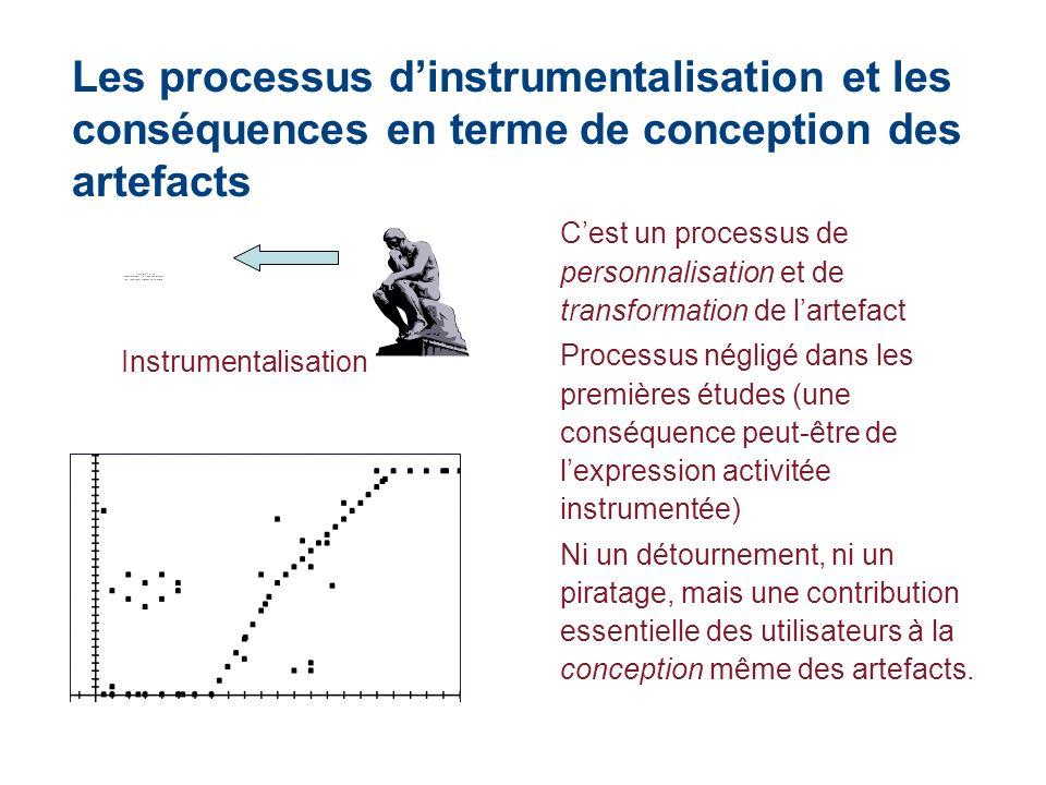 Les processus dinstrumentalisation et les conséquences en terme de conception des artefacts Cest un processus de personnalisation et de transformation
