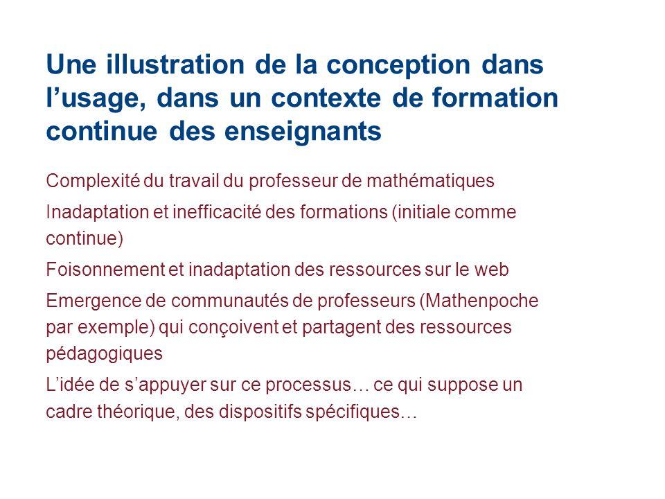 Une illustration de la conception dans lusage, dans un contexte de formation continue des enseignants Complexité du travail du professeur de mathémati