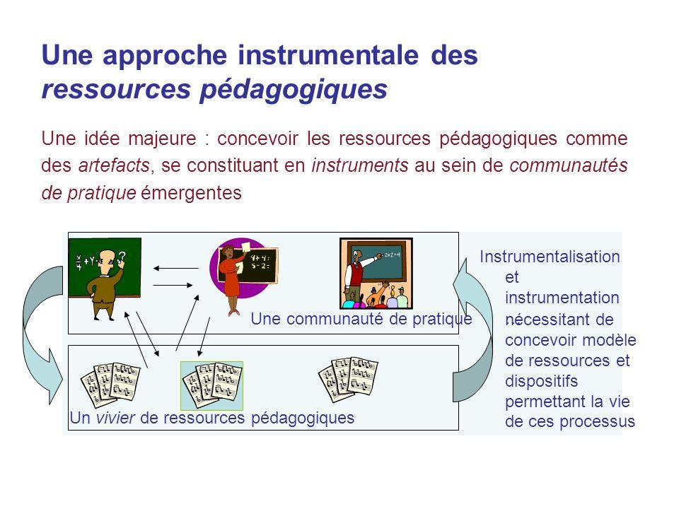 Une approche instrumentale des ressources pédagogiques Une idée majeure : concevoir les ressources pédagogiques comme des artefacts, se constituant en