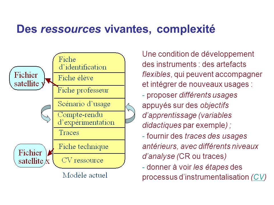 Des ressources vivantes, complexité Une condition de développement des instruments : des artefacts flexibles, qui peuvent accompagner et intégrer de n