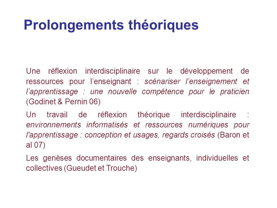Prolongements théoriques Une réflexion interdisciplinaire sur le développement de ressources pour lenseignant : scénariser lenseignement et lapprentis