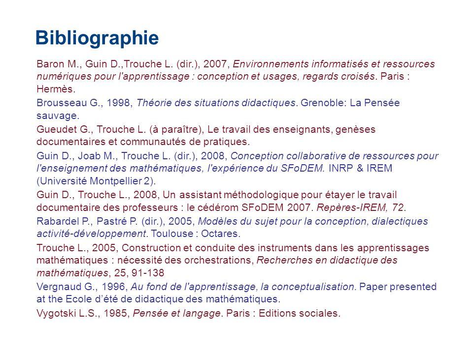Baron M., Guin D.,Trouche L. (dir.), 2007, Environnements informatisés et ressources numériques pour l'apprentissage : conception et usages, regards c