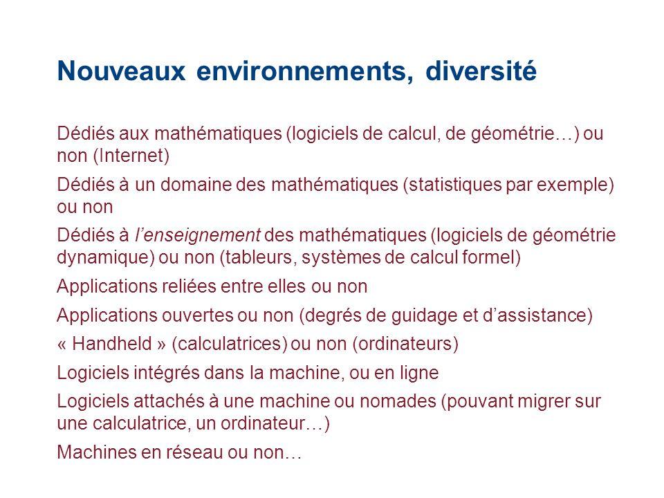 Nouveaux environnements, diversité Dédiés aux mathématiques (logiciels de calcul, de géométrie…) ou non (Internet) Dédiés à un domaine des mathématiqu