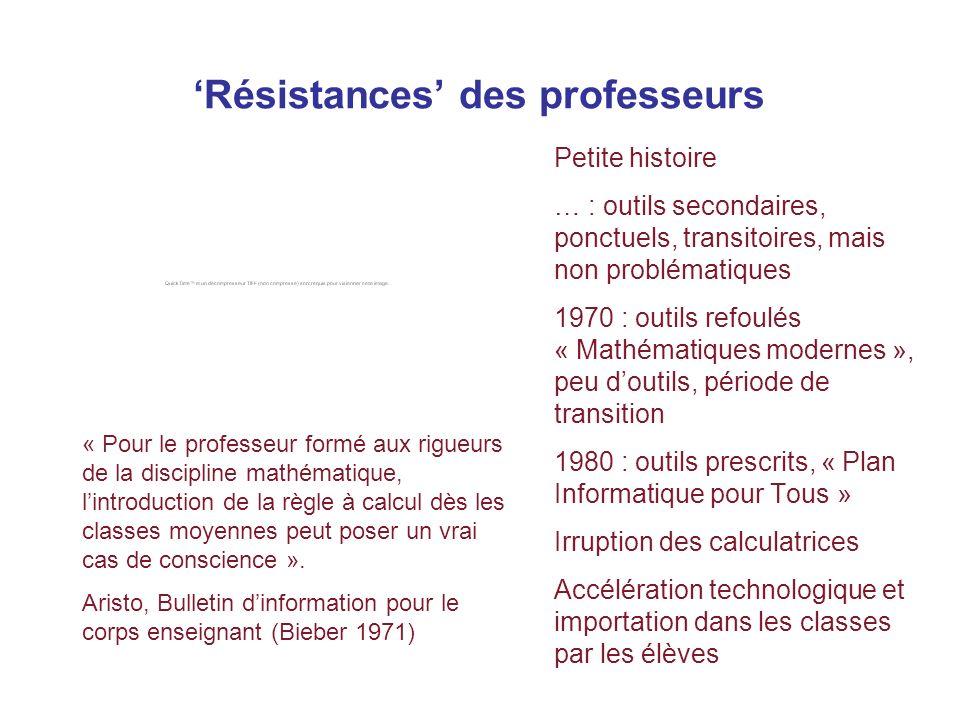 Résistances des professeurs Petite histoire … : outils secondaires, ponctuels, transitoires, mais non problématiques 1970 : outils refoulés « Mathémat