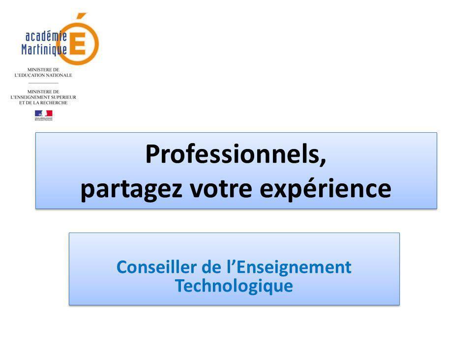 Professionnels, partagez votre expérience Conseiller de lEnseignement Technologique