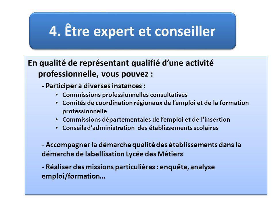 4. Être expert et conseiller En qualité de représentant qualifié dune activité professionnelle, vous pouvez : - Participer à diverses instances : Comm