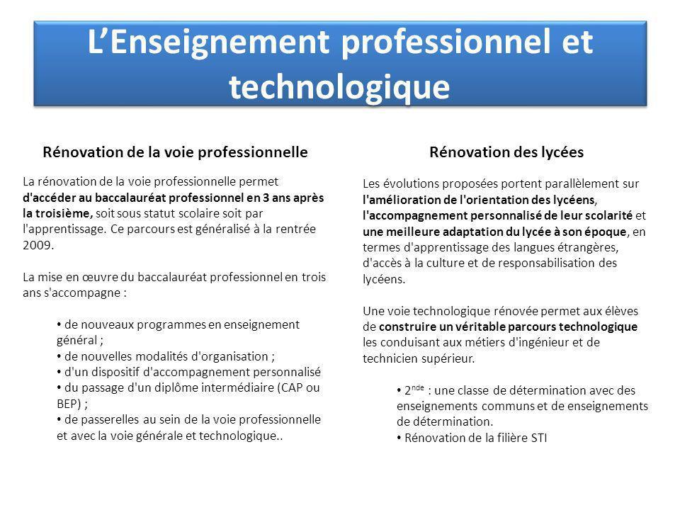 LEnseignement professionnel et technologique Rénovation de la voie professionnelle La rénovation de la voie professionnelle permet d accéder au baccalauréat professionnel en 3 ans après la troisième, soit sous statut scolaire soit par l apprentissage.