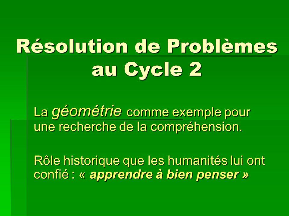 Résolution de Problèmes au Cycle 2 La géométrie comme exemple pour une recherche de la compréhension.