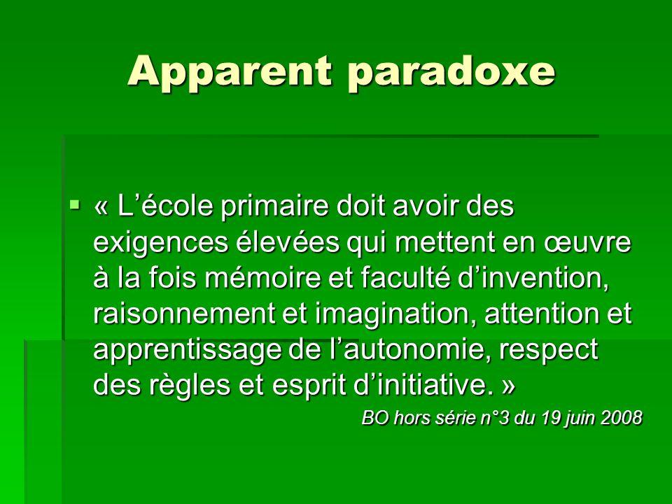 Apparent paradoxe « Lécole primaire doit avoir des exigences élevées qui mettent en œuvre à la fois mémoire et faculté dinvention, raisonnement et ima