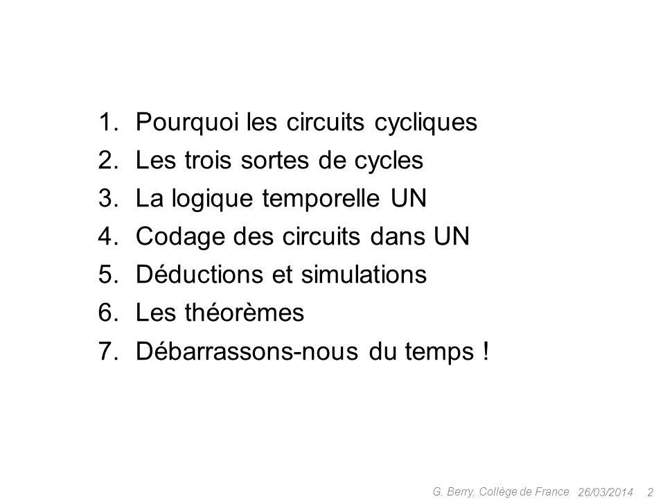 1.Pourquoi les circuits cycliques 2.Les trois sortes de cycles 3.La logique temporelle UN 4.Codage des circuits dans UN 5.Déductions et simulations 6.Les théorèmes 7.Débarrassons-nous du temps .