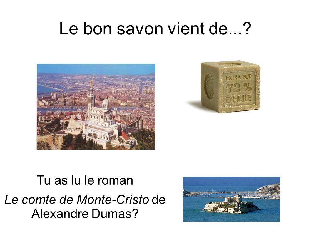 Le bon savon vient de...? Tu as lu le roman Le comte de Monte-Cristo de Alexandre Dumas?