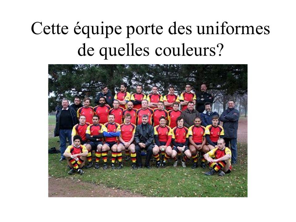 Cette équipe porte des uniformes de quelles couleurs?