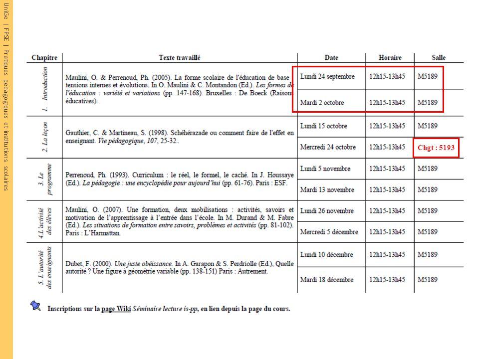 UniGe | FPSE | Pratiques pédagogiques et institutions scolaires Chgt : 5193