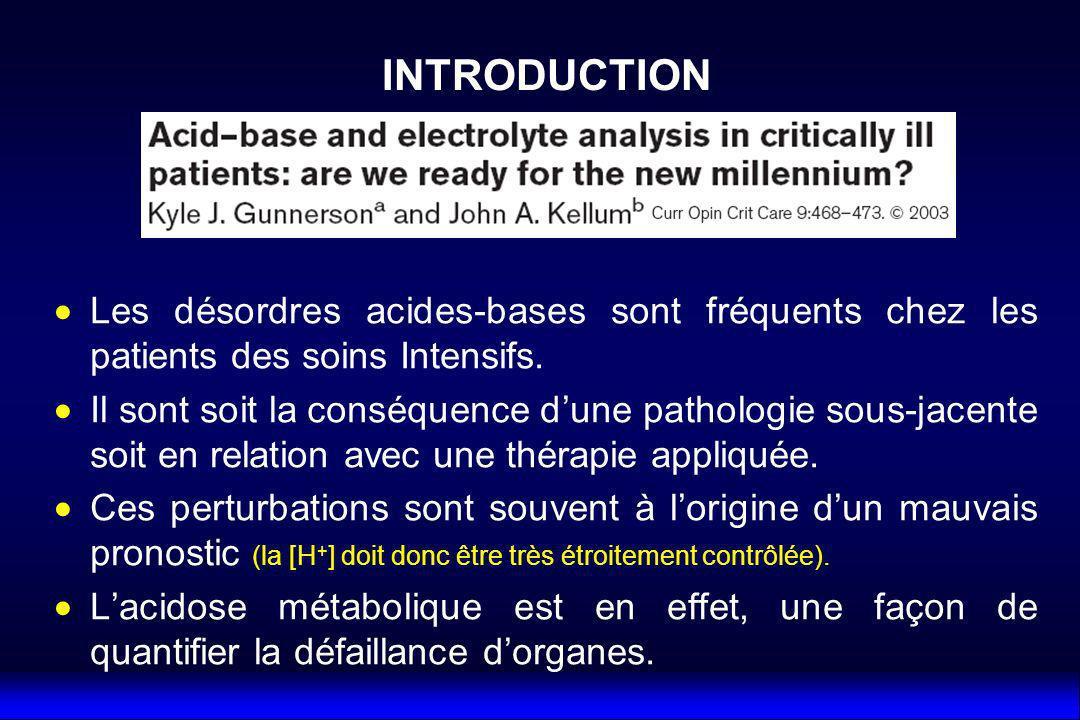 INTRODUCTION Les désordres acides-bases sont fréquents chez les patients des soins Intensifs.