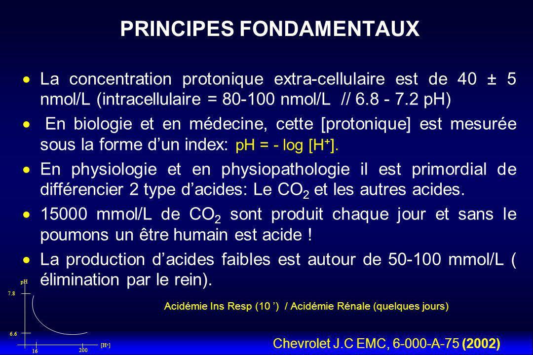 La concentration protonique extra-cellulaire est de 40 ± 5 nmol/L (intracellulaire = 80-100 nmol/L // 6.8 - 7.2 pH) En biologie et en médecine, cette [protonique] est mesurée sous la forme dun index: pH = - log [H + ].
