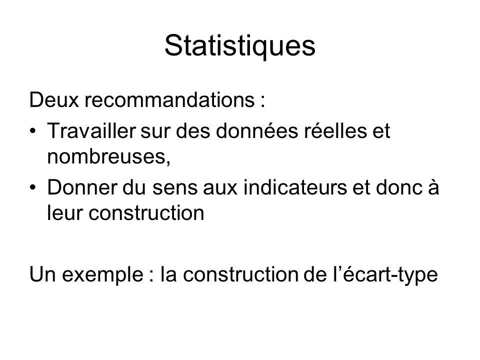 Statistiques Deux recommandations : Travailler sur des données réelles et nombreuses, Donner du sens aux indicateurs et donc à leur construction Un ex
